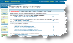 Screen clips of the SalfTrans STAMPEDE project management system for translation project management